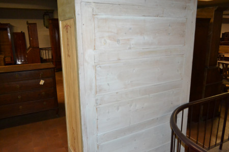 Wardrobe with a door and a drawer, antique and varnished