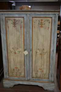 Wardrobe with two doors, antique and varnished
