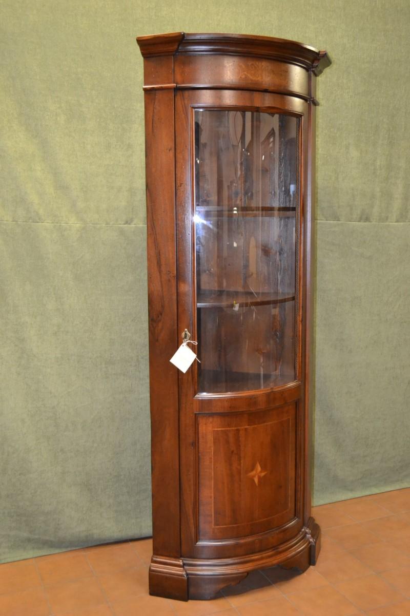 Angoliera con 1 porta in vetro curvo e intarsio livio bernardi mobili mobili d 39 arte - Mobiletti in vetro ...