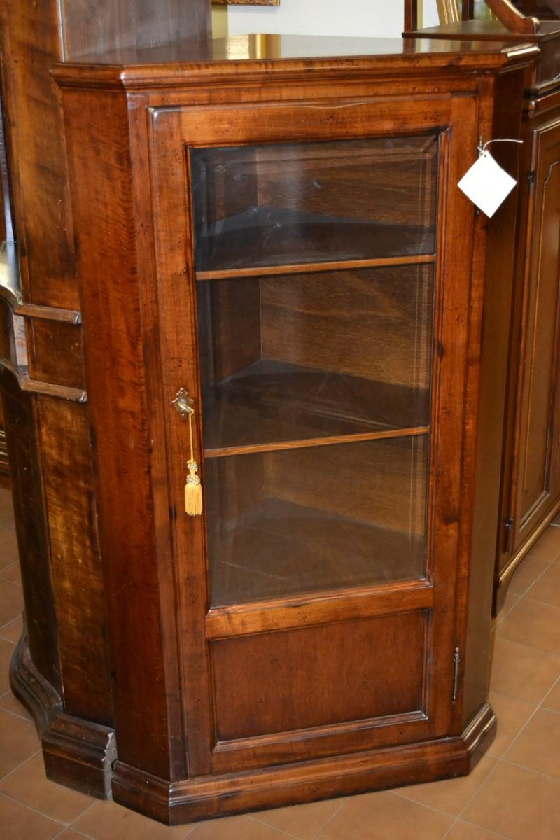 Angoliera con porta in vetro e legno livio bernardi mobili mobili d 39 arte artigianali in legno - Porta legno vetro ...