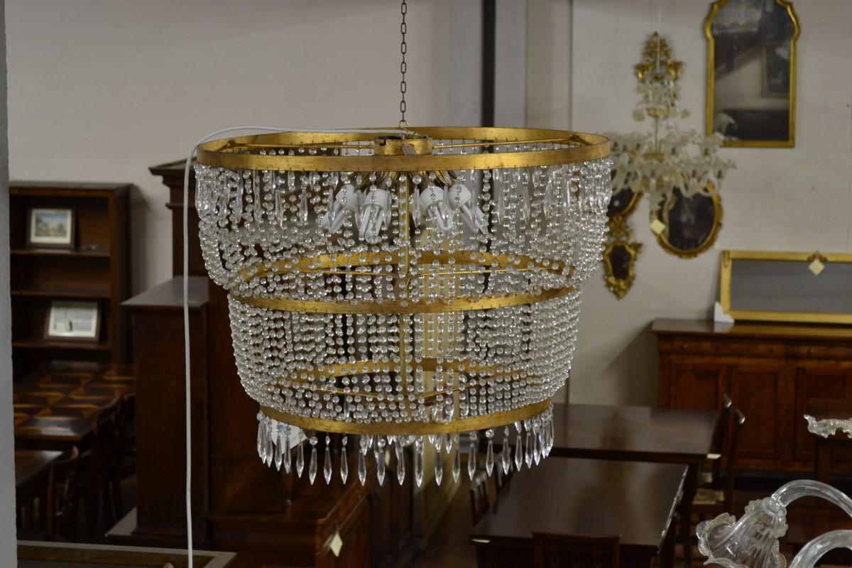 Lampadario con pendenti in cristallo livio bernardi - Mobili in cristallo ...