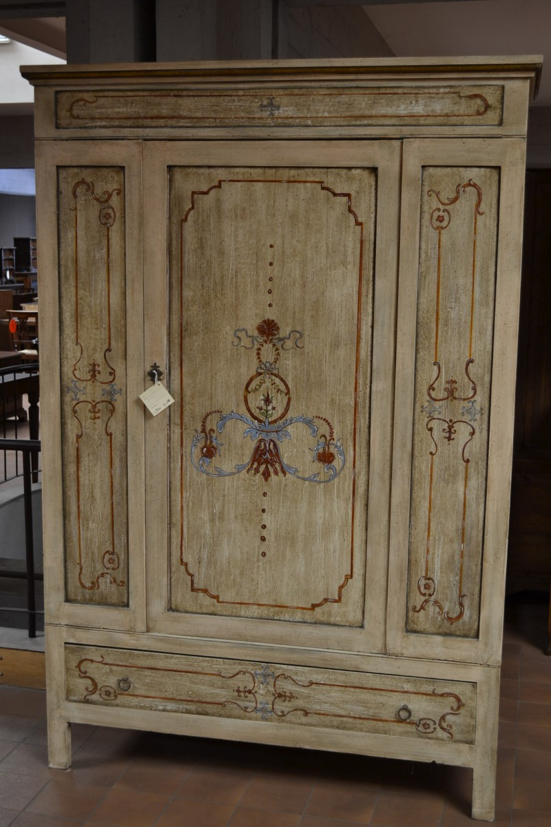 Wardrobe with one door and a drawer, antique and varnished